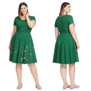eSHAKTI Embroidered Floral Hem Fit Flare Dress
